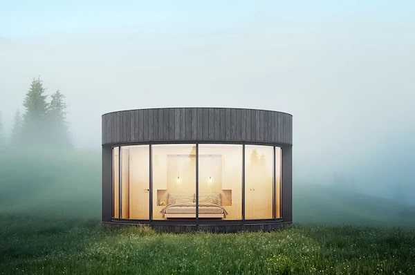 A Curved Prefabricated Cabin Reconnecting People With Nature
