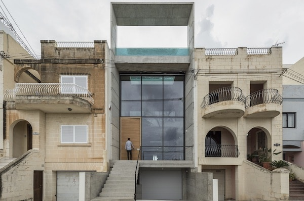 Glass-Sided Rooftop Pool Tops Concrete Maltese House