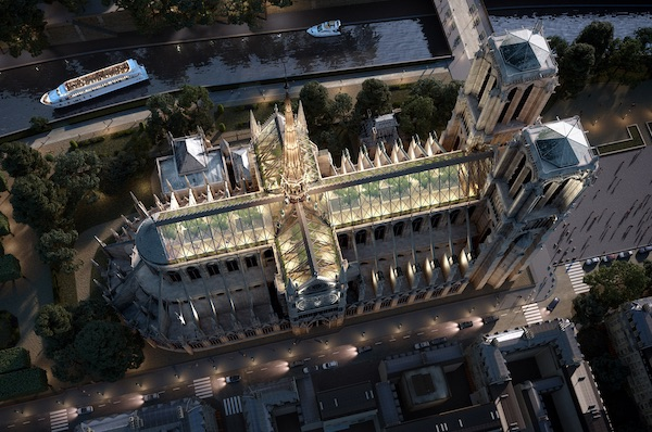 Miysis Studio Envisions Notre-Dame With A Reconstructed Spire And Glass Roof