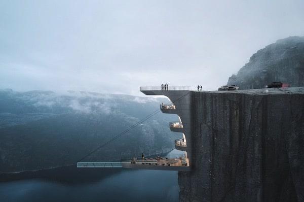 Hayri Atak Architectural Design Studio Proposes Cantilevering Glass Pool Over Norwegian Fjord