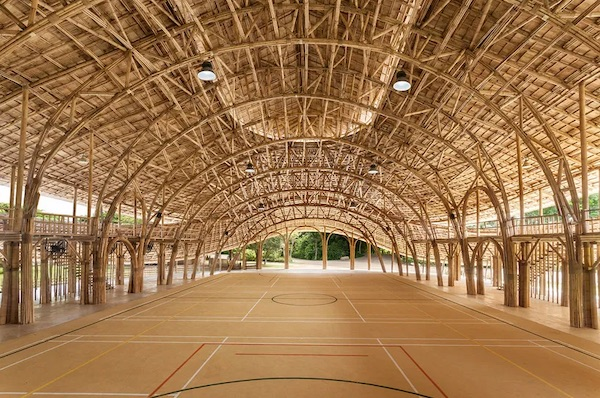 A Dramatic And Organic Bamboo Basketball Court In Thailand